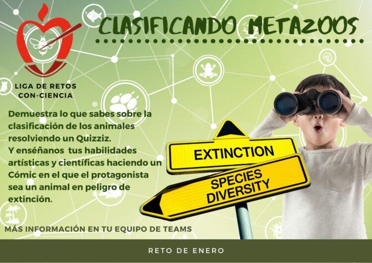 RETO DE ENERO CLASIFICACIÓN DE METAZOOS Y ANIMALES EN EXTINCIÓN
